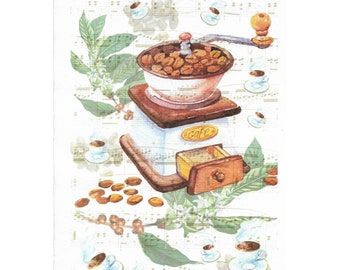 Rice Paper Sheet 16x22 cm Coffee Mill Music for Decoupage Crafts Washi Paper