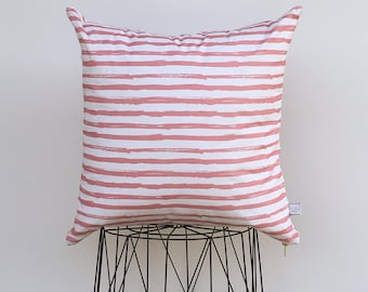 Pink striped pillow cover
