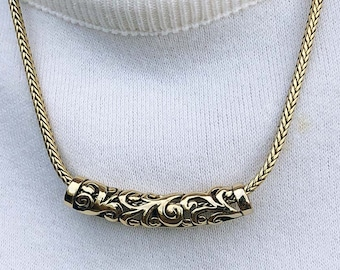 Floral Motif Filigree Look Slider on Heavy Chain Gold Tone Vintage