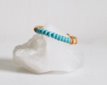 Boho Bracelet / Turquoise Howlite + Natural Coconut Shell Bracelet / KO-MALA Yoga Bracelet / Healing Crystals / Blacktop