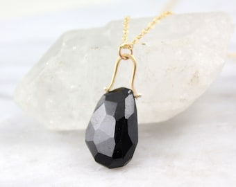 Faceted Black Spinel Gold Pinned Bail Necklace