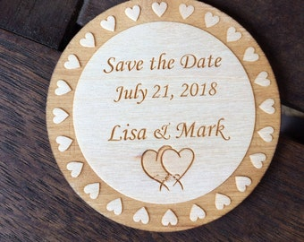 Wooden Save the Date magnet A, personalized