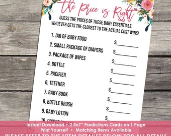 Floral Price is Right Baby Shower Game - Watercolor Price is Right - Baby-111
