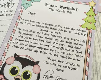 Personalised girls nice list from santa, christmas letter, christmas 2017, santa letter & santa list with envelope, personalized letter.