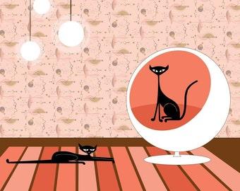 Atomicats - Giclee Cat Art Print MID CENTURY MODERN Retro Modern Pop Art Cat Lover Saarinen Ball Chair Kitties, Kitty Cat Original Art Pink