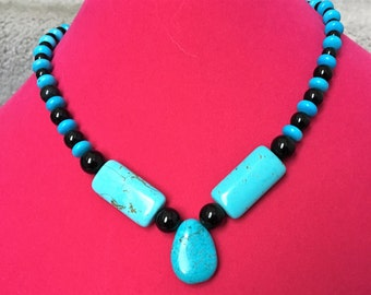 Turquoise and Onyx necklace.