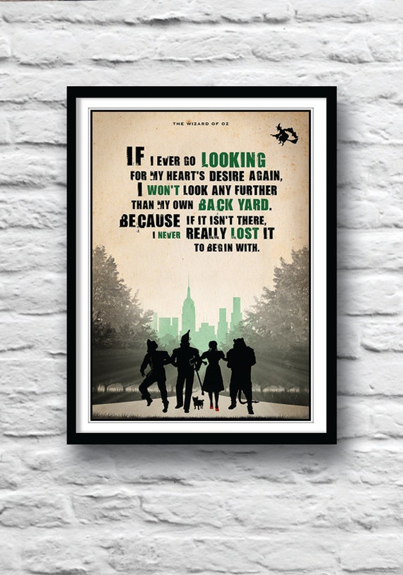 The Wizard of Oz Poster Movie quote Inspirational print