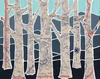 Mt Ranier - medium print 13x13 + 16x16 - featuring Mount Ranier National Park, Cascade Mountains, Washington tree print art print