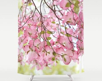 Pink Dogwood tree Fabric Shower Curtain, bathroom, home decor, pastel flowers, floral shower curtain, spring