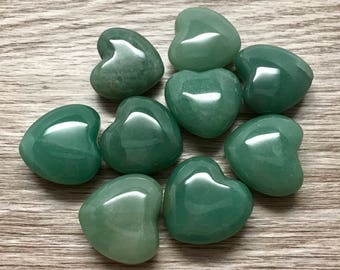 Green Aventurine Heart Crystal 30mm | Puffy Heart | Worry Stone | Palm Stone #H3