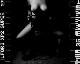 Artistic nude erotic art Black and White film photography fine ART square print - Soft in the Dark - 3