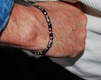 Eagle Eye, Mens Bracelet, Men's Sterling Bracelet, Womens, Black Onyx Bangle Bracelet, Personalize