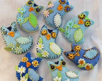 Owl Always Love You / Tiny Sky Blue Felt  Owl Quilty Critters / Magnets / Choose Your Blues / 1 per / OOAK / Tiny Gift