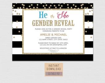 GENDER REVEAL INVITATION instant download, gender reveal party invitations, black and gold invites digital printable, elegant he or she BL1
