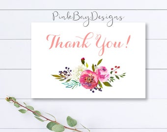 Floral Thank You Card, Watercolor Floral Thank You Card, Pink Floral Thank You Card, Instant Download, Thank You Cards, Shower Thank You