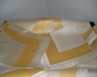 Eight Vintage Linen Napkins Gold and Cream Made in Czechoslovakia