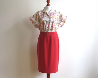 Coral Red Pencil Skirt Knee Length Slim Skirt Lined Fitted High Waisted Large Size
