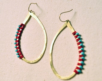 Hammered & Wrapped Brass Hoops