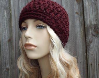 Claret Red Wine Beanie - Crochet Womens Hat Mens Hat - Crochet Hat Women Warm Winter Hat - READY TO SHIP