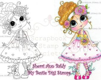 INSTANT DOWNLOAD digitale Digi Stamps Big Eye Big hoofd poppen Digi weinig QT Bestie door Sherri Baldy