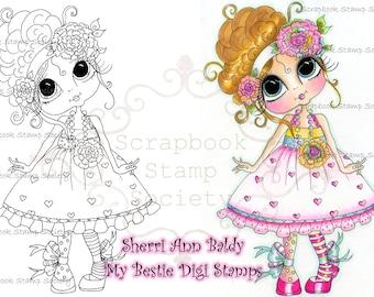 INSTANT DOWNLOAD Digital Digi Stamps Big Eye Big Head Dolls Digi Little QT Bestie By Sherri Baldy