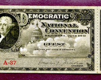 Very Rare 1912 Democratic National Convention Ticket Stub Baltimore Maryland