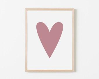 Rose Heart Nursery Art. Nursery Wall Art. Nursery Prints. Nursery Decor. Girl Wall Art. Rose Wall Art. Instant Download.