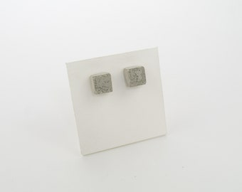 Concrete jewelry- Square Concrete Earrings with embedded glass reflective beads on sterling silver stud posts