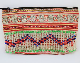 Vintage Hmong Appliqué and Embroidered Patterns Fabric Pouch/Cosmetic Bag/CP1