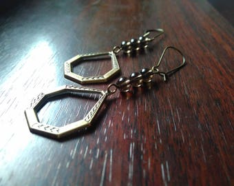 Earrings Art Deco frame & smoky quartz beads
