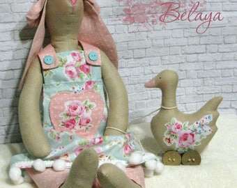 Tilda doll Bunny with a Goose. Shabby Chic Bunny Toy. Cloth Tilda Toy. Tilda Bunny Toy. Stuffed Bunny Toy. Tilda Easter Bunny Toy.
