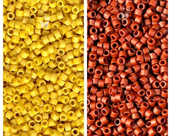 Miyuki Delica Seed Beads, Matte Opaque Glazed Pineapple (DB2284) and Matte Opaque Glazed Sienna (DB2288), Yellow, Brick, Size 11/0 (5gr)