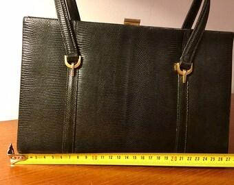 Vintage handbag 50s 60s, Black lizard leather, mid-century
