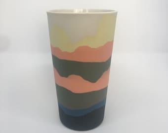 Multicolour porcelain vase.
