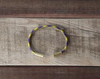 BRZN Bullet Casing Bracelet Royal Camo recycled .22lr shells royal purple yellow camo 550 paracord wire men women