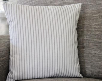 Classic Stripe pillow cover. Grey and White Stripe. Ticking Stripe. Sofa Pillow. Stripe Sham Cover. Cushion Covers. Pillow . ALL sizes.