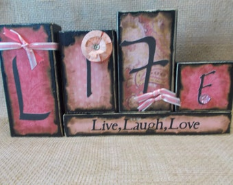 LIFE Word Block Sign