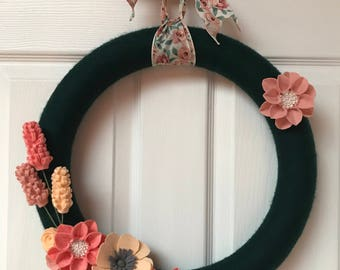 Shades of Pink Green Yarn Wrapped Wreath