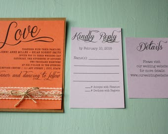 Printed Wedding Invitation Suite with Lace and Twine   Customized Wedding Invites with RSVPs, Details Card, and Envelopes