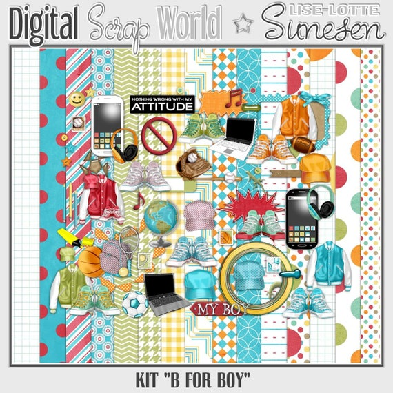 Digital Scrapbook Kit Fußball-Muster-Papier Scrapbook