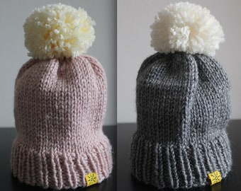 Pink or Grey! Knitted Bobble Hats - Hand-knit with Cream bobble.