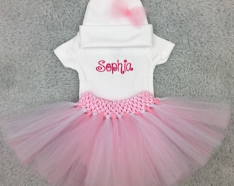 Preemie tutu outfit with hat bodysuit - custom baby shower gift, preemie gift set, monogrammed preemie clothes, take home, NICU photography