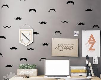 Mustache Wall Decal / 60 Mustache Set / Mustache Sticker / Little Man Wall Decal / Boys Room decor