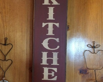 Vertical Country Kitchen - open 24 hours with Crows Sign measures approx. 24 inches high x 6 inches wide.