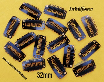 30 Mic Clips - 32mm Wireless Microphone Clips, Black Weft Clips for Wig Repair Weft Clips, Fascinator Millinery Supply