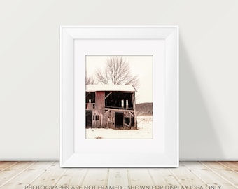 Rustic Barn Photography, Rural Decay, Red Barn Picture, Farm Decor, Country, Cottage Chic, Red and White Decor, Winter Barn, Snow, Woodland