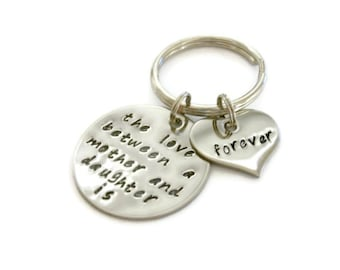 """SALE: Mother and Daughter Keychain """"The love between..."""" hand stamped quote keychain by Moonstone Creations"""