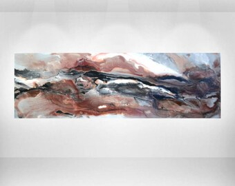 """Abstract Bronze and Brown Resin Painting Acrylic on Wood Panel Sunset Canyon 24x48"""" and Up"""