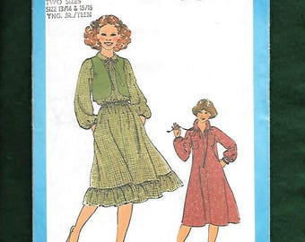 Vintage 70's Simplicity 8703 Country Peasant Dress With An Optional Elastic Waist, And Tiered Ruffle Hem, & Bolero, Size 13/14-15/16, UNCUT
