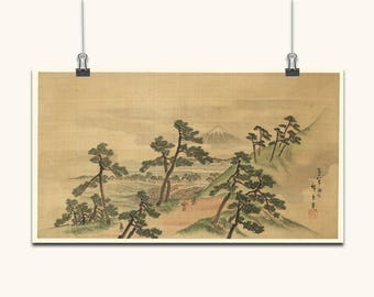 JAPANESE ART Japanese Wall Art Japanese Prints Japanese Wall Art Vintage Old Style Japanese Trees Mountain Japanese Antique Wall Hangings